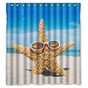"""66""""(Width) x 72""""(Height) Starfish On Summer Beach Theme Design 100% Polyester Bathroom Shower Curtain Shower Rings Included -Best Visual Enjoyment For You"""