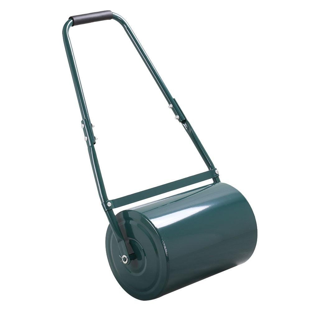Popamazing Galvanised Steel Garden Grass Lawn Roller 30 L with Scraper Bar Handles