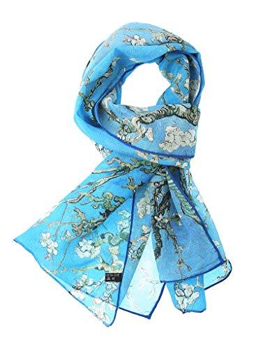 Salutto Women 100% Silk Scarves Van Gogh Paul Gauguin Monet Painted Scarf (24) (Silk Scarf Painted)