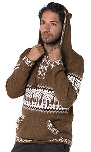 d478ce60315dc3 Gamboa - Alpaca - Llamas Sweater - Hoodie for Men - Andean Design in Brown