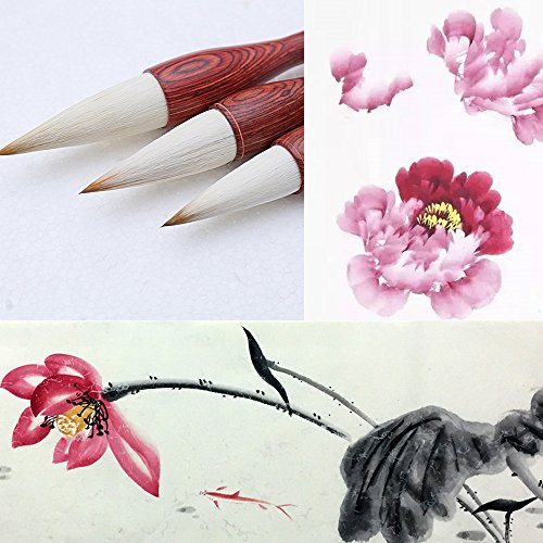MB001 Hmay Artist's Calligraphy and Sumi Brushes 3pcs/pack - Good for Flower Painting: Lotus & Peony, etc. & Lishu Style Calligraphy by Hmay Brush Pen