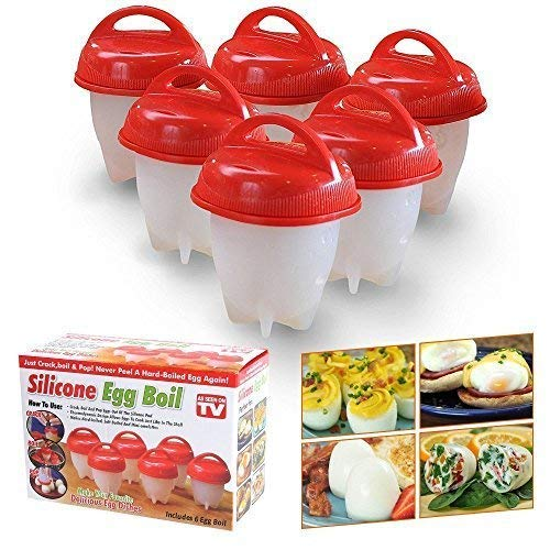 Egg Cooker Set of 6 Non-stick Silicone Egg Cups for Soft & Hard Boiled Eggs BPA Free As Seen on TV