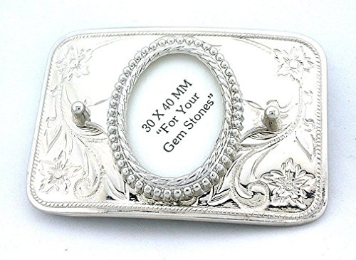 - 40x30 40mm x 30mm Oval Cab Silverplated Rectangle Floral Belt Buckle Mounting Cf832