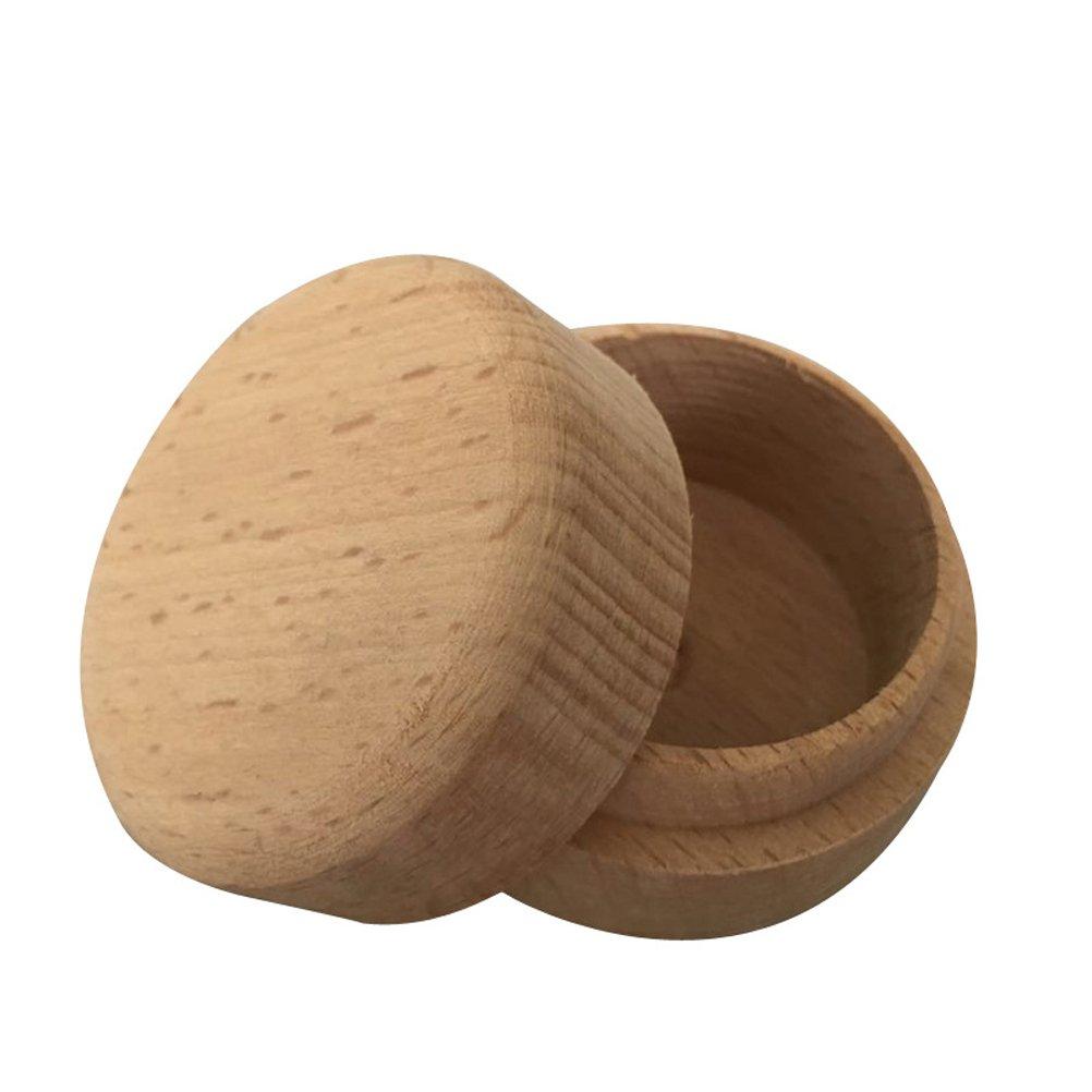 BESTOYARD Scatola rotonda di legno dell\'anello, mini contenitore di monili rustico Contenitore per gioielli per cerimonia di nozze