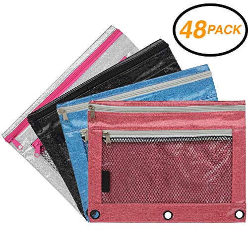 Emraw Double Pocket Zippered Glitter Pencil Pouches with 3-Ring Grommet Holes & Quick View Mesh Pocket - Colors Included: Black, Silver, Blue, Pink (48 Pack) ()