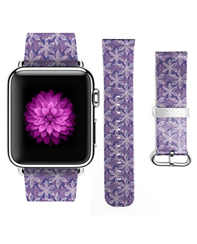 Apple Watch Strap iWatch Genuine Leather Replacement Watch Band Buckle Watch Strap Regular-length Design for Apple Watch for Woman (38mm) Purple White - Buckle Length