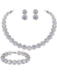 Silver-Tone Round Cut Cubic Zirconia Tennis Necklace Bracelet Earrings Set