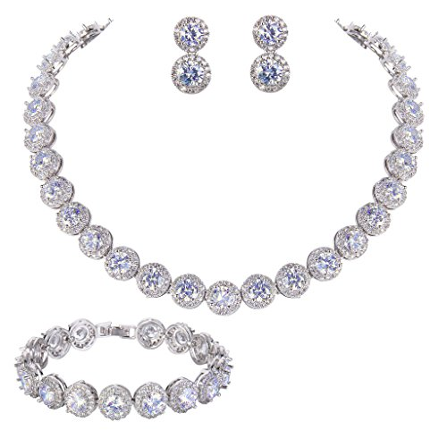 EVER FAITH Silver Tone Zirconia Necklace product image