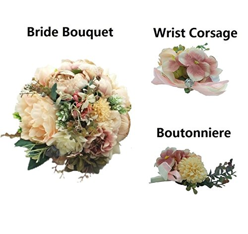 Abbie Home Champagne Peony Rose Bridal Wedding Bouquet-Set of 5 Bride Flowers Bridesmaid Corsage and Groomsman (Bouquet Set)