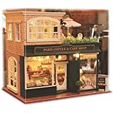 Ogrmar Wooden Dollhouse Miniatures DIY House Kit With Led Light And Dust Cover-Paris Coffee & Cake Shop