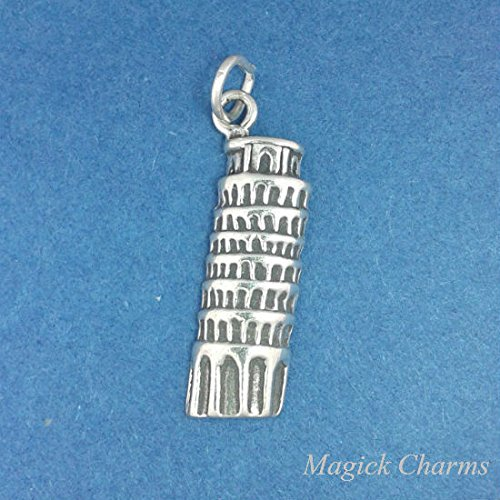 925 Sterling Silver Leaning Tower of PISA Italy Charm Pendant Jewelry Making Supply, Pendant, Charms, Bracelet, DIY Crafting by Wholesale Charms