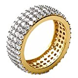 So Chic Jewels - Ladies 18k Gold Plated White Cubic Zirconia Jeweller's Eternity Wedding Band Ring - Size 9