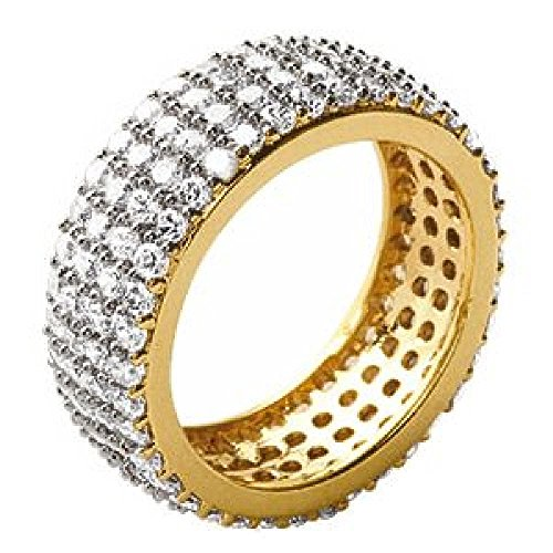 So Chic Jewels - Ladies 18k Gold Plated White Cubic Zirconia Jeweller's Eternity Wedding Band Ring - Size 9 by So Chic Jewels