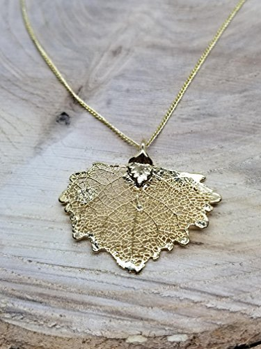 24k Gold Dipped Real Cottonwood Leaf Necklace Pendant Outdoor Rustic Nature Earth Jewelry Tree Plant - 24k Gold Cottonwood Leaf