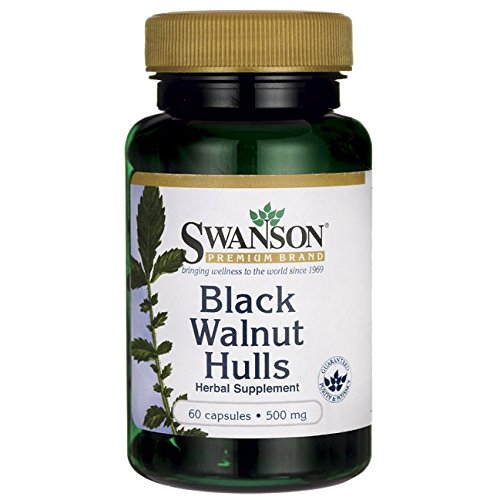Swanson Black Walnut Hulls 500 Milligrams 60 Capsules