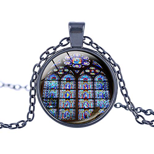 Notre Dame de Paris Cathedral Pendant Necklace – Haluoo Vintage Steampunk Glass Bronze Pendant Long Chain Necklaces French Lovers Jewelry Gift for Men and Women (K)