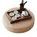 LB Japanese Style Handcrafted Eco-friendly Breathable Padded Knitted Straw Flat Seat Cushion,Hand Woven Tatami Cushion Best for Zen,Yoga Practice or Buddha Meditation (L: 19.7