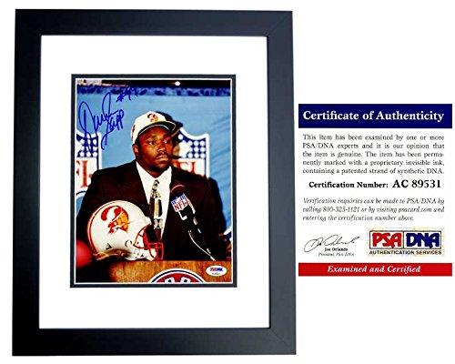 (Warren Sapp Signed - Autographed Tampa Bay Buccaneers DRAFT 8x10 inch Photo - BLACK CUSTOM FRAME - Tampa Bay Bucs - PSA/DNA Certificate of Authenticity (COA))