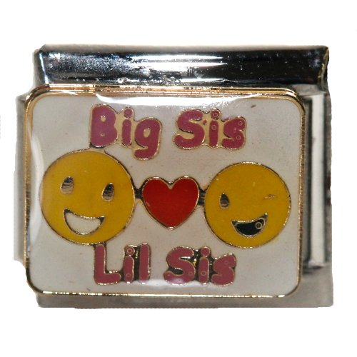 SEXY SPARKLES Big Sis Loves Lil Sis Italian Link Bracelet Charm (Italian Charm Sis Bracelet)