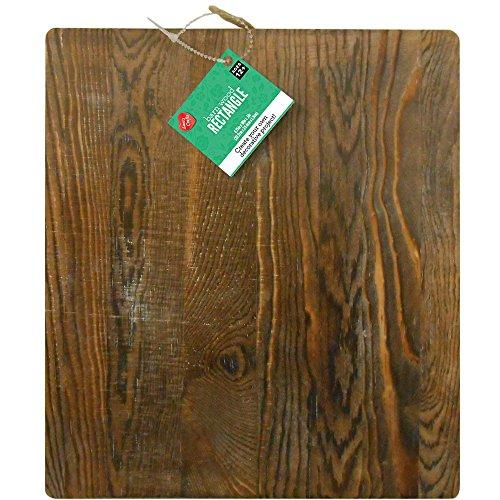 Lara's Crafts Large Chunky Wood Hanging Rectangle with Jute Cord, Barnwood Finish, 8.75
