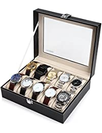 Glass Top 10 Watch Black Leather Box Case Display Organizer Storage Tray for Men & Women