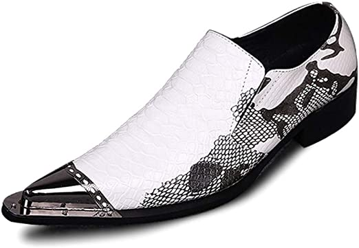 Mens US Size 12 New Metal Toe Genuine Texture Leather Dress Formal Loafer Shoes