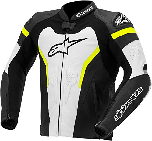 Alpinestars GP Pro Leather Men's Riding Jacket (Black/White/Yellow, Size 56)