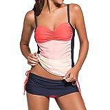 DISSA S41963 Women's Sexy Swimsuit Beachwear Swimwear Tankini Sets,Orange,L