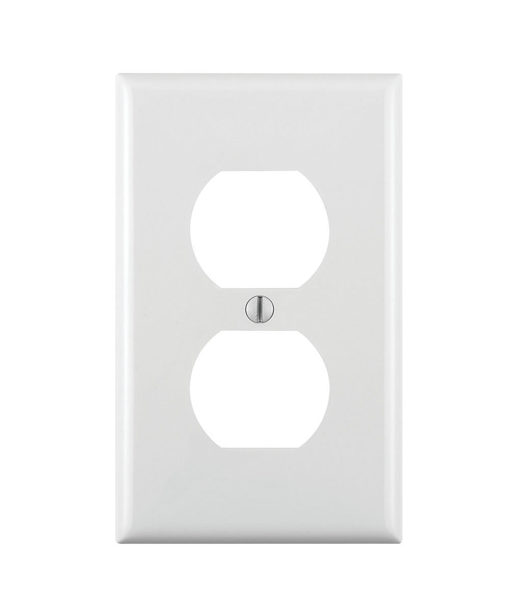Leviton 80703-W 1-Gang Duplex Device Receptacle Wallplate, Standard Size, Thermoplastic Nylon, Device Mount, 20-Pack, White