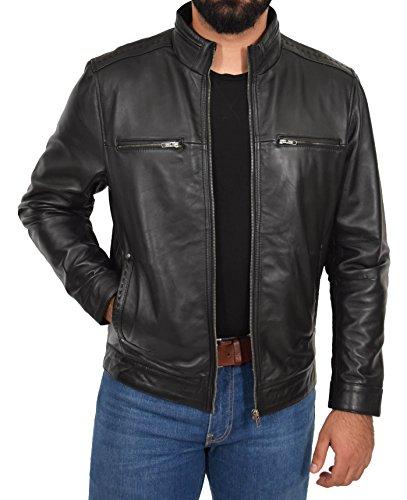Biker cremallera suave cuero Capa para hombres genuino estilo Chaqueta ajustada Felix casual Negro de z0w6nqg