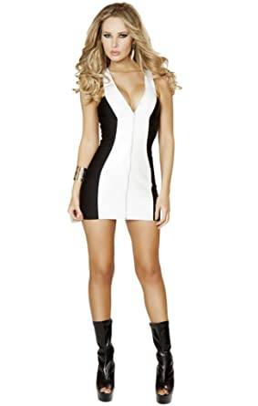 7bca93dd5b27 Image Unavailable. Image not available for. Color: Sexy Zip Up Front Halter  Contrast Panel Mini Dress ...