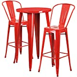 Flash Furniture 24'' Round Red Metal Indoor-Outdoor Bar Table Set with 2 Cafe Stools