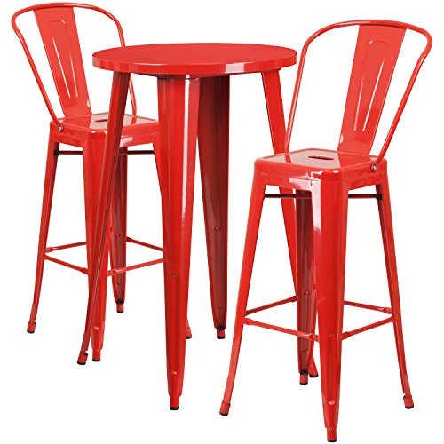Flash Furniture 24'' Round Red Metal Indoor-Outdoor Bar Table Set with 2 Cafe (Stool Bistro Bar Set)