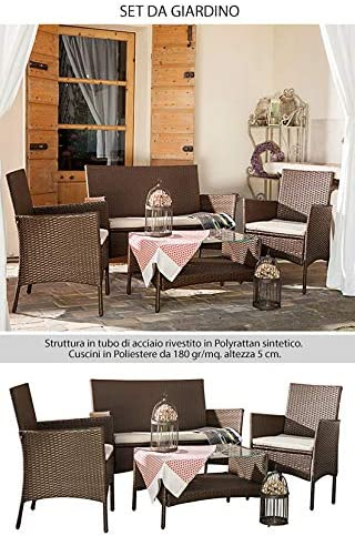 bertozzi Set Salottino da Giardino in Polyrattan Marrone con Divano Poltrone Tavolino Caprera