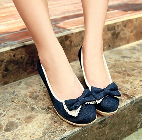Slip Dark Wedge Dressy Sweet Shoes Bows Pumps With Heels Blue Toe Aisun Womens Round On UCqIpH