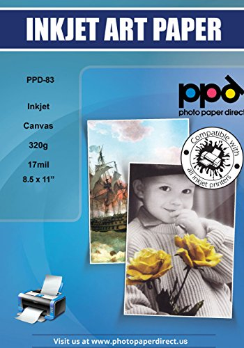 High Resolution Color Inkjet - PPD Inkjet Canvas 100% Real Printable Cotton LTR 8.5 x 11