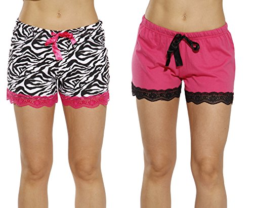 6334-10098-S Just Love Womans Pajamas Shorts - PJs - Sleepwear (Pack of 2),Fuchsia - Zebra (Pack of 2),Small