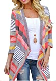 Fensajomon Womens Color Blocked 3/4 Sleeve Stripe Print Open-Front Casual Cardigan Coat Red XS