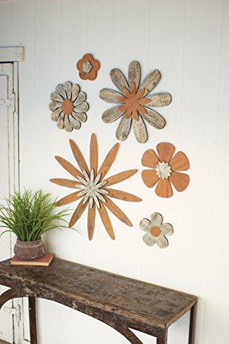 SET OF SIX WOODEN FLOWER WALL ART