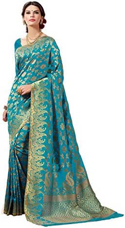 Women's Tussar Silk Saree SET with Fall Silk Petticoat and 2 unstitched Blouses