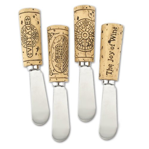 Cheddar And Blue Cheese Ball Recipe - Vintage Wine Cork Cheese Spreader Set of 4