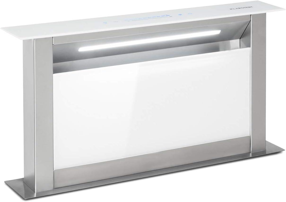 Klarstein Royal Flush Eco 60 Extractor de humos extraíble - 60 cm, clase A+, se guarda en la mesa, extracciones: 458 m³/h, panel deslizante, tiras LED, control táctil, extracción y ventilación, blanco