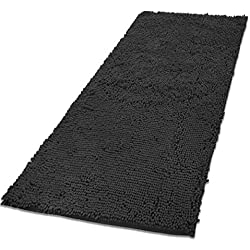"Mayshine Chenille Dog Door mat (31""x59"") Runner for Front Inside Floor Dirty Trapper Doormats, Quick Drying, Washable, Prevent Mud Dirt - Dark Gray"