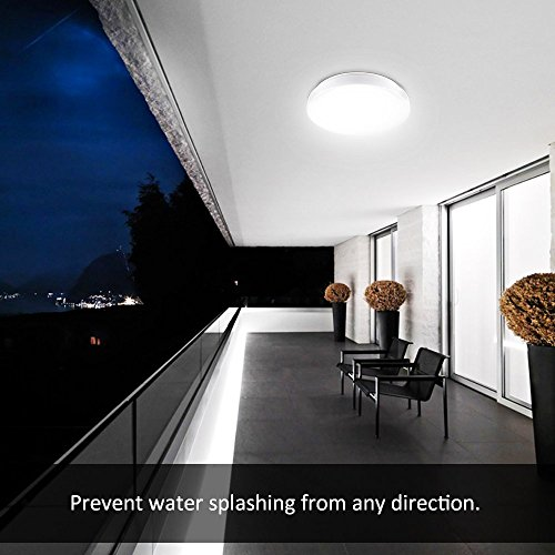 Ustellar Waterproof 12W LED Ceiling Lights, 11in, 100W Incandescent Bulbs Equivalent, IP44, 950lm, Lighting for Bathroom, Kitchen, Hallway, Flush Mount Ceiling Light, 6000K Daylight White by Ustellar (Image #4)