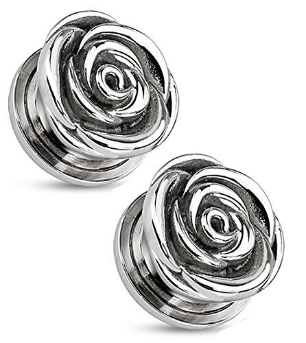 Pair of Rose Flower Screw Fit Tunnel Plugs Ear Gauges - Sold As Pair (10m - 00GA) (Ear Screw Plugs)