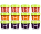 Glass Baby Food Storage Containers, BPA-Free Airtight Leak-Proof Baby Food Jars with Labels, Set of 12-4 Ounce