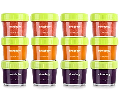 Glass Baby Food Storage Containers, BPA-Free Airtight Leak-Proof Baby Food Jars with Labels, Set of 12-4 Ounce ()