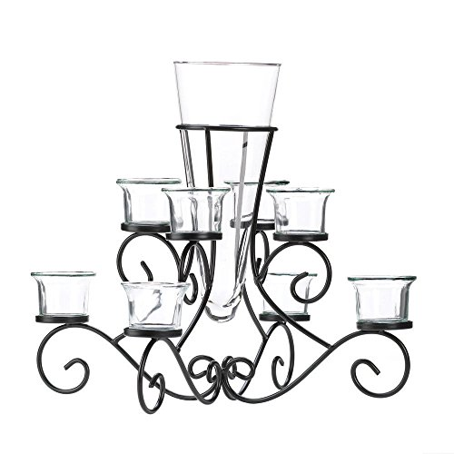 (Moon Daughter Black Swirl Iron Candle Holder Stand with Glass Flower Vase Centerpiece)