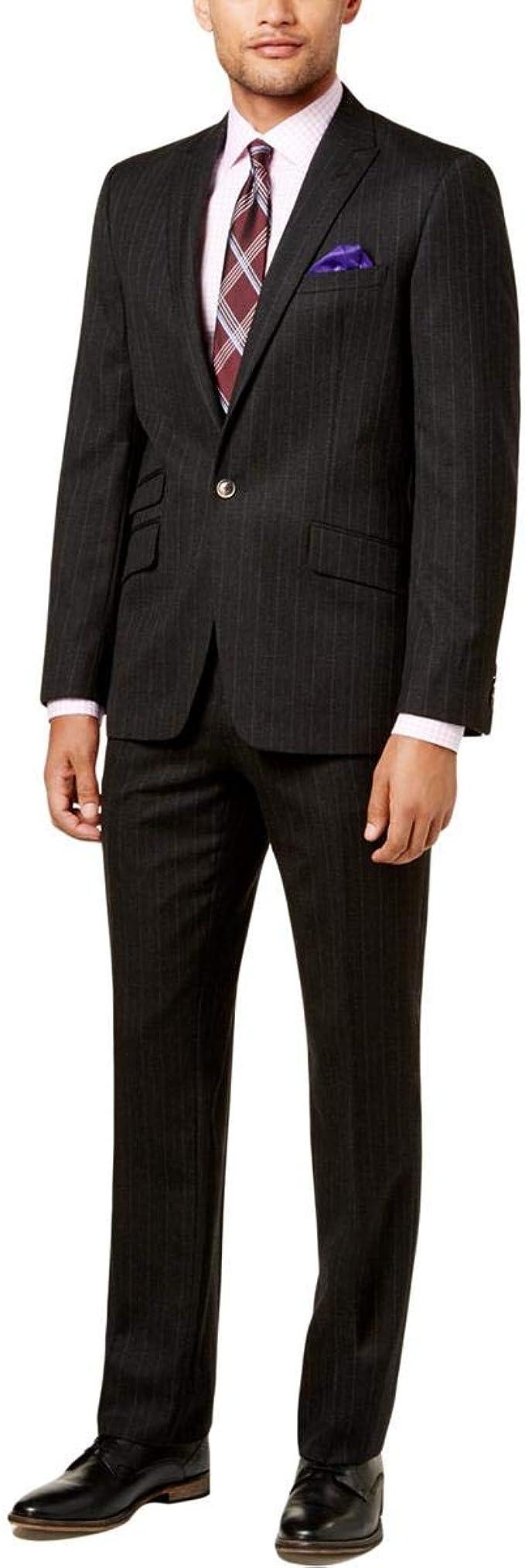 Ben Sherman Mens Slim Fit Two Button Windowpane Suit
