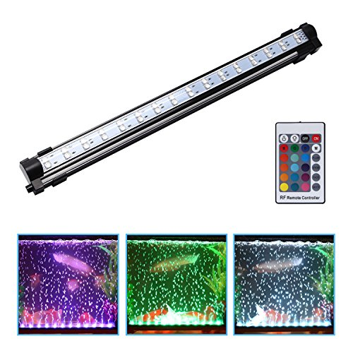 Ugrade Kit - LED Aquarium Light Air Bubbles Light Bar, Waterproof Underwater Fish Tank Lights Kit Submersible Lamp with Remote Control 49cm/19inch
